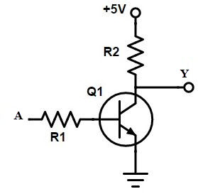Electronic circuit of not gate