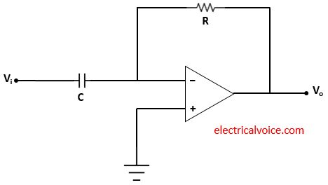 Differentiator circuit using capacitor and op amp